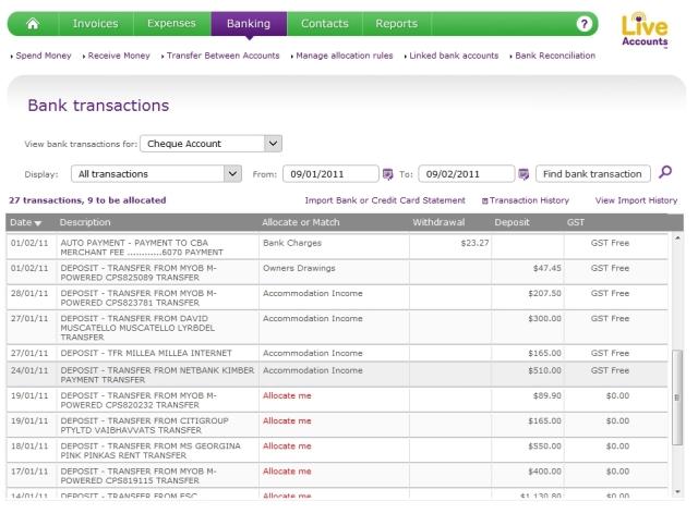 Allocating transactions in MYOB LiveAccounts