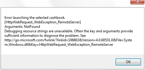 Error Message with CashBook Online